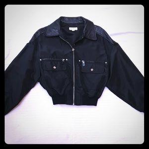 Ann Taylor black nylon/leather bomber jacket